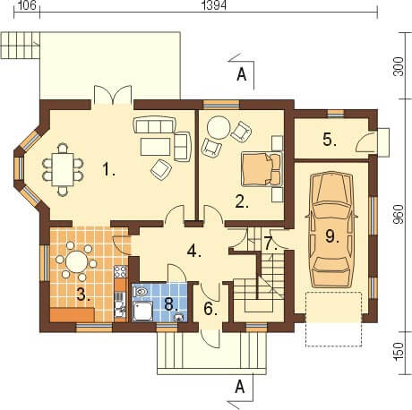 Projekt domu L-6040 - rzut