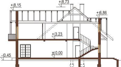 Projekt domu L-6044 - przekrój