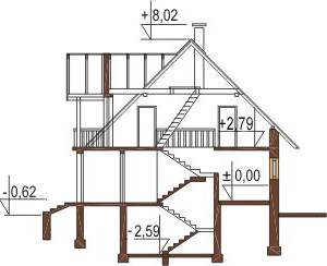 Projekt domu L-6051 - przekrój