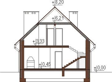 Projekt domu L-6055 - przekrój