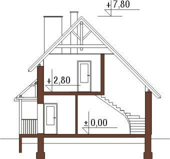Projekt domu L-6105 - przekrój