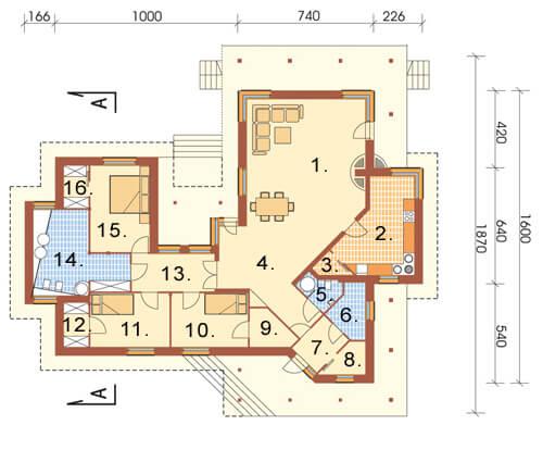 Projekt domu L-6107 - rzut