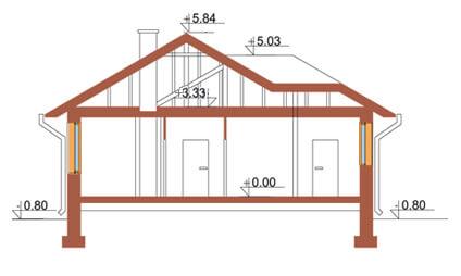 Projekt domu L-6107 - przekrój