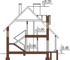 Projekt domu L-6110 - przekrój
