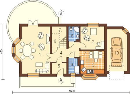 Projekt domu L-6110 - rzut