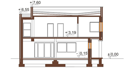 Projekt domu L-6112 - przekrój
