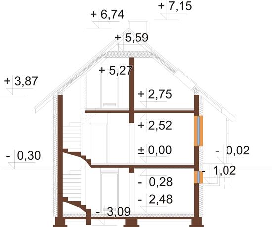 Projekt domu L-6143 - przekrój