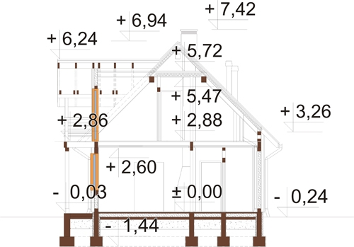 Projekt domu L-6152 - przekrój