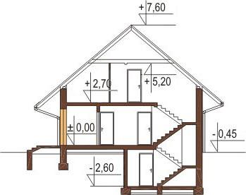 Projekt domu L-6156 - przekrój