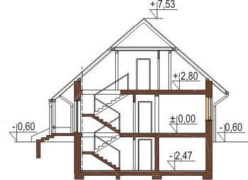 Projekt domu L-6164 - przekrój