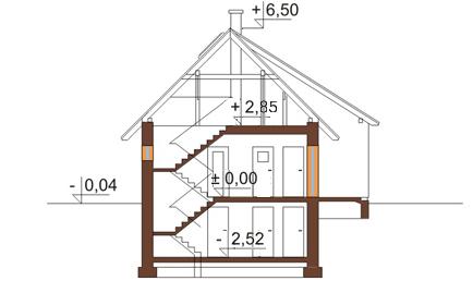 Projekt domu L-6165 - przekrój