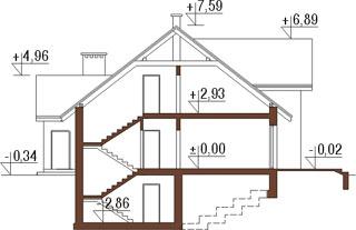 Projekt domu L-6167 - przekrój