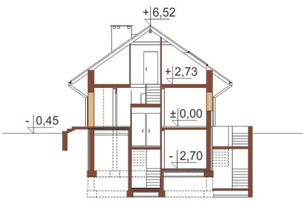 Projekt domu L-6169 - przekrój
