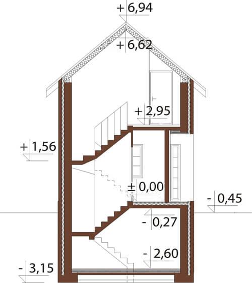 Projekt domu L-6172 - przekrój