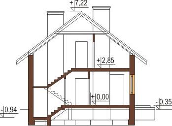 Projekt domu L-6180 - przekrój