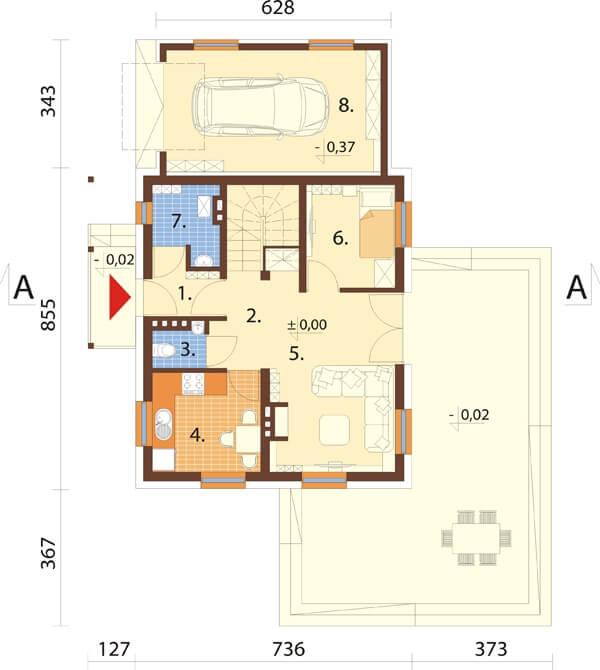 Projekt domu L-6190 - rzut