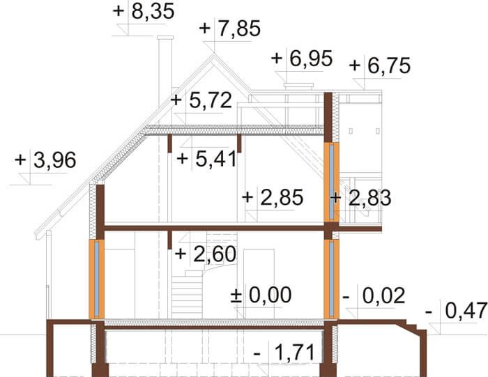 Projekt domu L-6190 - przekrój