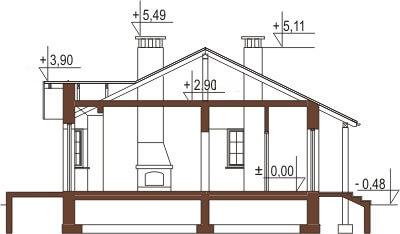 Projekt domu L-6196 - przekrój