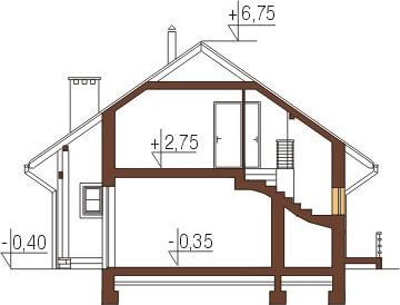 Projekt domu L-6197 - przekrój