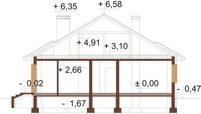 Projekt domu L-6209 - przekrój
