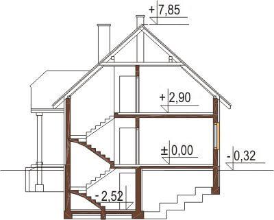 Projekt domu L-6214 - przekrój