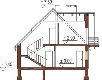 Projekt domu L-6216 - przekrój