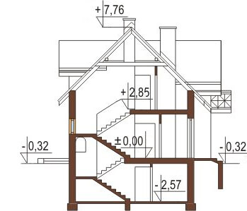 Projekt domu L-6218 - przekrój