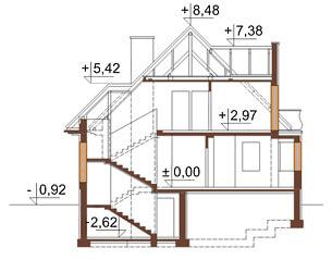 Projekt domu L-6219 - przekrój