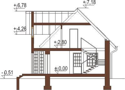 Projekt domu DM-6026 - przekrój