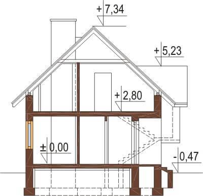 Projekt domu L-6251 - przekrój