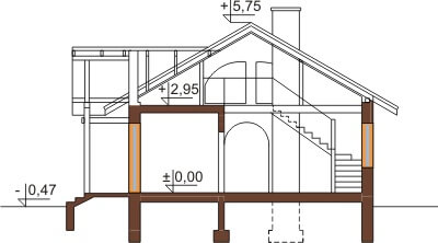 Projekt domu L-6255 - przekrój