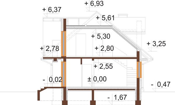 Projekt domu L-6256 - przekrój