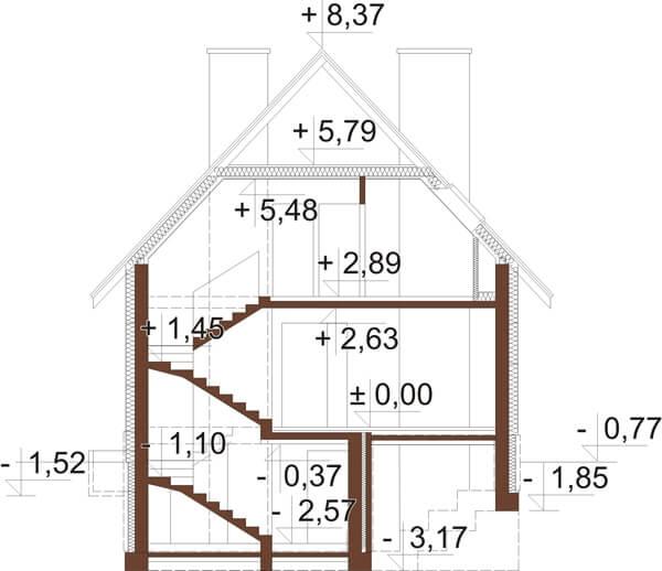 Projekt domu DM-6273 - przekrój