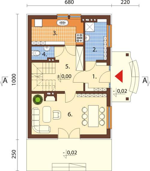 Projekt domu DM-6279 - rzut