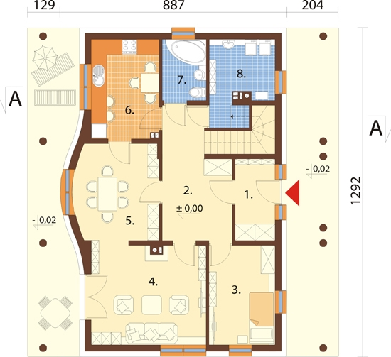 Projekt domu DM-6282 - rzut