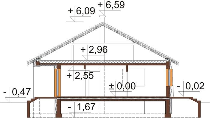 Projekt domu DM-6298 - przekrój