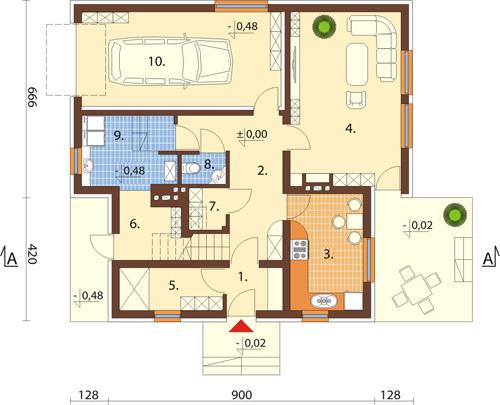 Projekt domu L-6245 - rzut