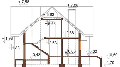 Projekt domu L-6245 - przekrój