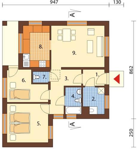 Projekt domu DM-5516 - rzut