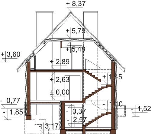 Projekt domu L-6273 - przekrój