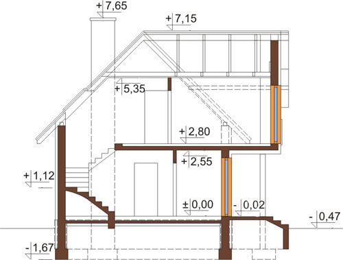 Projekt domu L-6279 - przekrój
