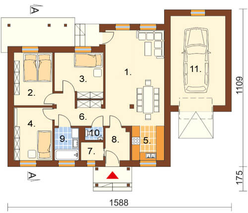 Projekt domu L-5538 - rzut