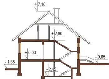 Projekt domu L-6036 - przekrój
