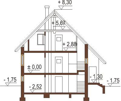 Projekt domu L-6088 - przekrój