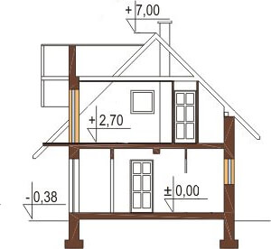 Projekt domu L-6108 - przekrój