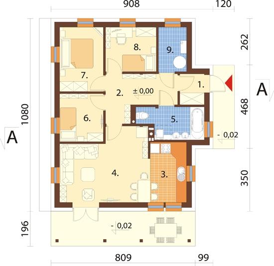 Projekt domu DM-6033 - rzut