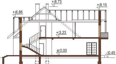 Projekt domu DM-6044 - przekrój