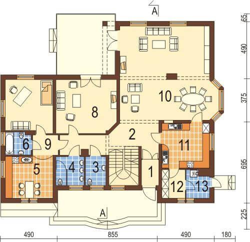 Projekt domu DM-6044 - rzut