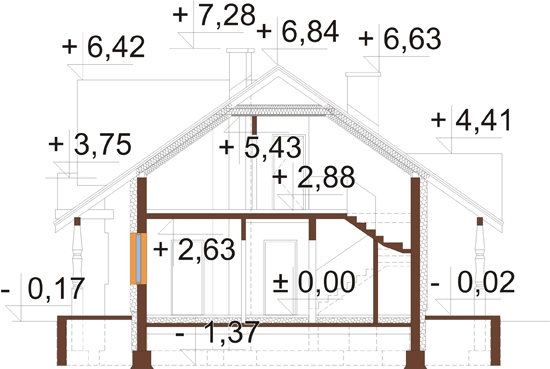 Projekt domu L-6282 - przekrój