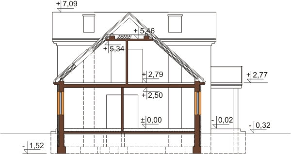 Projekt domu L-6290 - przekrój